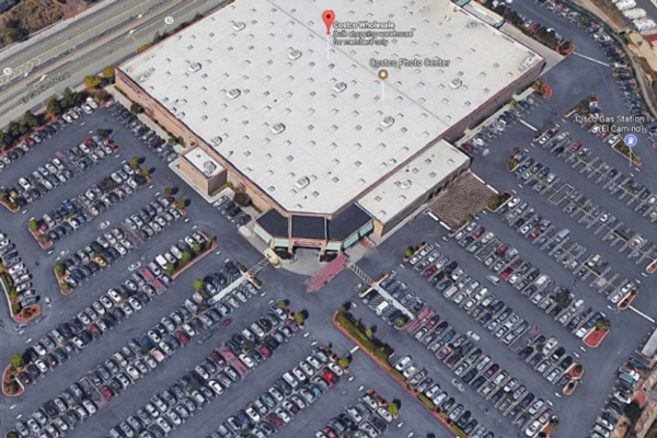 A very busy Costco parking lot—image courtesy of Google Earth