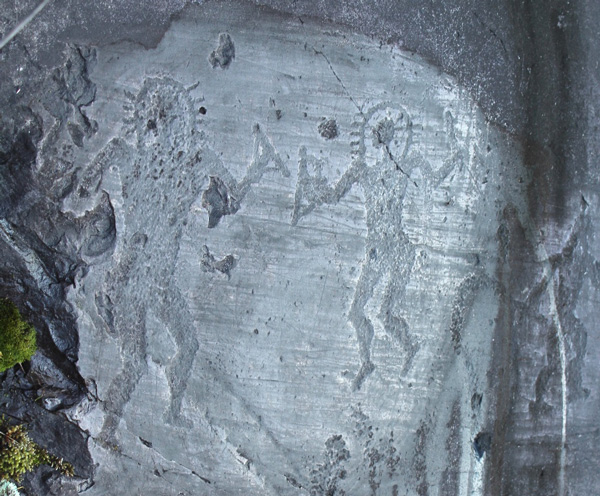 Italian cave painting circa 10,000 BC at Val Comonica depicting two astronaut-like figures